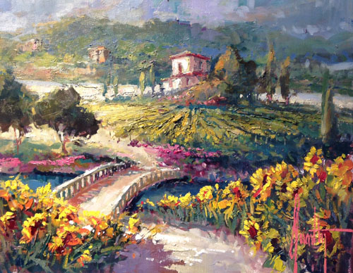 Steve Quartly Art - Vinyard Sunflowers - Ocean Blue Galleries