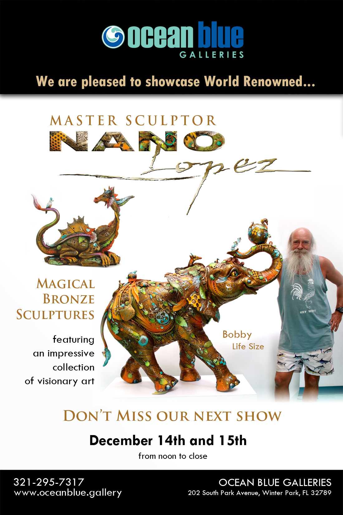 Nano Lopez Art Show at Ocean Blue Galleries Winte Park