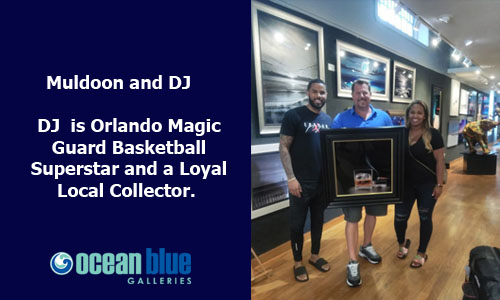Stephen Muldoon with DJ at Art Show at Ocean Blue Galleries